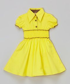 Take a look at this Yellow Puff-Sleeve Dress - Toddler & Girls on zulily today!
