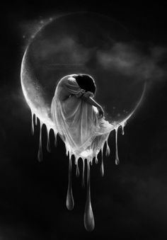 Tears In Heaven by kuschelirmel [Jasmin Junger] Tears In Heaven, Beautiful Moon, Beautiful Angels Pictures, Beautiful Artwork, Moon Goddess, Lunar Chronicles, Moon Art, Gothic Art, Stars And Moon