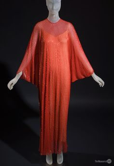 Halston evening caftan of red beaded nylon, c. 1977, USA. Collection of The Museum at FIT.