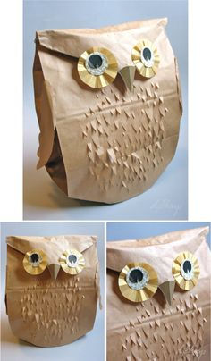 paper bag owl --- made by Courtney who taught the workshop I took. Love this owl -- he's so cute.