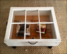 Reclaimed Window Coffee Table with Storage - not so deep to display treasures then make a drawer in the bottom to house DVDs.