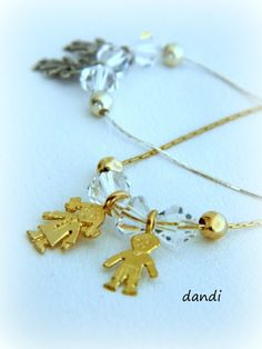 Children Maternity Two Kids  neckiace 14 k gold by dandiallmyheart, ₪149.00
