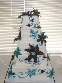 Brown and Teal Cake