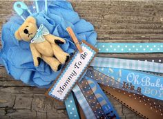 Teddy Bear Mommy To Be Corsage Blue Baby Shower by BloomingParty, $16.00