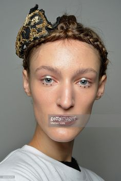 A model is seen backstage ahead of the Antonio Marras show during Milan Fashion Week Spring/Summer 2016 on September 26, 2015 in Milan, Italy.