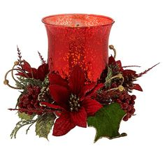 Merry and bright. This vintage-looking illuminated glass hurricane by Valerie Parr Hill is surrounded by a ring of shimmering wintry berries, pinecones, and poinsettias for a decoration that's luminous and spectacular. QVC.com