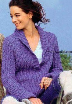 Схема вязания пуловера с воротником шалька - вязание спицами для домохозяек