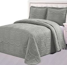 Bedspread Set (King, Charcoal grey) - 2 Piece Luxurious Soft Brushed Microfiber Coverlet set - Quilted Embroidery Over sized Bed-Cover by Utopia Bedding