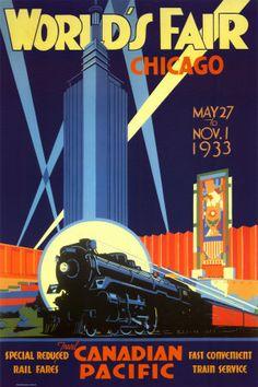 "Art Deco ""World's Fair Chicago"" Poster Print"