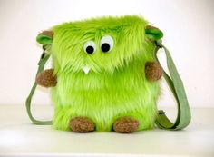 IDEA - Monster Purse Teddy Green by TravelingMonsterShop on Etsy - Too adorable with the ears, feet and hands!Fun, furry, handmade monster purse for the playful eccentric. The perfect gift for that loveable goofball in your life. Sewing Crafts, Sewing Projects, Selling Handmade Items, Creation Couture, Craft Sale, Purses And Bags, Creations, Etsy, Fabric