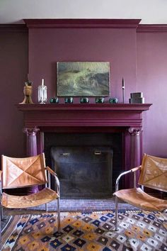 Laura & Ray's Art-Filled Austin Home | Brick fireplace