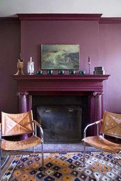 La Maison Boheme: Purple Room by Billy Cotton. Deep purple walls, deep red purple fireplace.