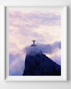 Rio De Janeiro print Brazil PrintWatercolor by HopSkipPaint Watercolor Mermaid, Watercolor Paintings, Watercolor Paper, Watercolors, Small Canvas Art, Diy Canvas Art, Watercolor Landscape, Landscape Paintings, Brazil Art