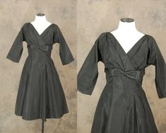 Hey, I found this really awesome Etsy listing at https://www.etsy.com/listing/177655607/vintage-50s-dress-black-taffeta-party