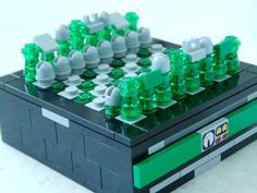 Pocket-size Lego chess set, complete with drawer to store the pieces