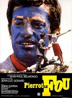"""""""Pierrot le fou"""" (1965). Dir: Jean-Luc Godard. Ferdinand Griffon, alias """"Pierrot"""" huye junto con Marianne, la niñera que su esposa había contratado. Sin embargo, una banda de gángsters vinculados con Marianne hará que el viaje/huida sea más peligroso que placentero. Argumento basado en la novela """"Obsession"""" de Lionel White. En #BibUpo http://athenea.upo.es/record=b1560745"""