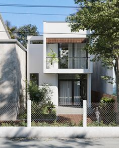 T house 2 Minimal House Design, Modern Small House Design, Modern Minimalist House, House Front Design, Townhouse Exterior, Narrow House Designs, 2 Storey House Design, Townhouse Designs, Facade Design