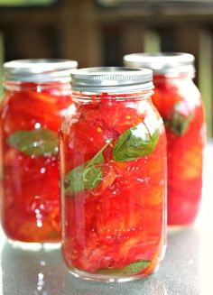 Savory tomatoes preserved easily at home for future use in your favorite salsas and sauces!