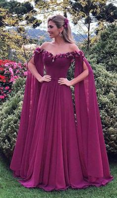 Oversized 2018 Women's Fashion Flower Fairy Long Dress Off Shoulder Trim Maxi Dress Wedding Slim Prom Party Dresses Prom Dresses Long With Sleeves, Chiffon Evening Dresses, Ball Gown Dresses, Formal Evening Dresses, Formal Gowns, Evening Gowns, Evening Party, Halter Dresses, Long Sleeve Maxi