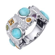 This ring is by MarahLago. The blue stone shown in every ring is called Larimar, which is found in the Dominican Republic.