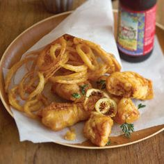 Crispy fish and onion rings