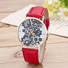 Retro Spitzen Uhr Lederausstattung Leichtmetall Damen Analoge Quarz Armbanduhr Rot - http://uhr.haus/sanwood/rot-retro-weltkarte-uhr-lederausstattung-damen-2
