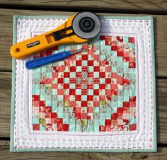 "Mini quilt using Ruby by Bonnie and Camille - squares finish at 1/2""!"