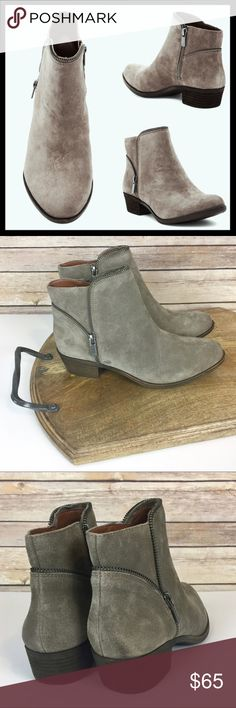 """lucky brand // boide taupe suede zip ankle boot The eclectic zipper trim of the Boide boot highlights its scupltural design and offers a chic completion to any ensemble. Comfortable 1.25"""" inch heel. Suede leather upper, synthetic lining and a rubber outsole. Never worn, new without box. Color is a perfectly neutral taupe gray. Lucky Brand Shoes Ankle Boots & Booties"""