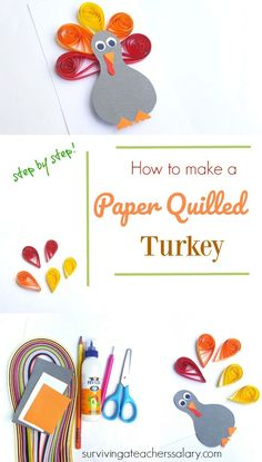 Paper quilling is such a fun fine motor skills project for kids & this easy tutorial will show you how to make a quilled turkey paper craft for thanksgiving Fun Crafts To Do, Farm Crafts, Fun Arts And Crafts, Crafts For Kids, Diy Crafts, Motor Skills Activities, Craft Activities, Kandinsky For Kids, Paper Quilling For Beginners