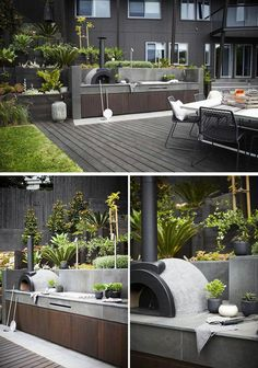 Including a wood fired oven in your modern outdoor kitchen will let you cook a range of meals, plus you get that authentic smokey flavor. Backyard design landscapes 7 Outdoor Kitchen Design Ideas For Awesome Backyard Entertaining Modern Landscape Design, Modern Landscaping, Backyard Landscaping, Landscaping Ideas, Concrete Backyard, Modern Design, Landscape Architecture, Modern Outdoor Kitchen, Outdoor Living