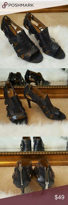 Gladiator style crocodile heels Navy blue Nine West crocodile sandals. Nine West Shoes Sandals