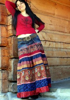 Gyspy hippie boho  recycled jeans denim long skirt by jamfashion, $98.00