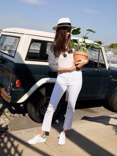 our design aficionado Shalina's denim soulmate: the cali demi-boot jeans, worn here with the baseball tee + madewell x biltmore® panama hat.