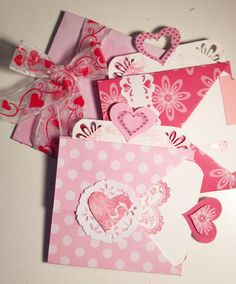 Heart-tag book with pockets for love notes and gift cards - Wendy Schultz ~ Gift Wraps, Cards, Tags Bows & Bags.