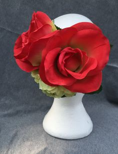 Rose Red and green floral hair accessory by fayeven on Etsy