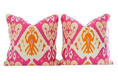 Orange & Pink Ikat Pillows, Pair - for the sofa #onekingslane and #designisneverdone