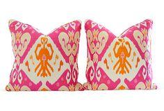 Orange & Pink Ikat Pillows, Pair - for the sofa #onekingslane and #designisneverdone