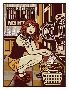 dope Gaslight Anthem Poster from El Jefe Design. Love the balls of putting the band name backwards and semi-obscured.