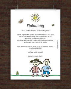 Kindergeburtstagseinladung mit Einladungstext