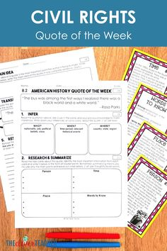 Civil Rights Movement - Task Cards & Literacy Strategies Literacy Strategies, Reading Comprehension Worksheets, Reading Strategies, Literacy Activities, 7th Grade Social Studies, Social Studies Resources, Teaching Social Studies, Middle School Us History, Be An Example Quotes