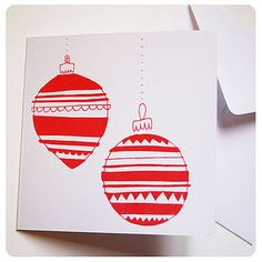 Screen Printed 'Baubles' Christmas Card