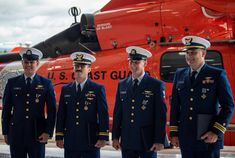 Coast Guard Air Station Humboldt Bay members receive awards for rescuing two injured firefighters who were unable to evacuate from a mountainside that was engulfed in flames during the Middle Fire on September 6, 2019. Humboldt Bay, Patriotic Poems, Coast Guard, Firefighters, Awards, September, Middle, United States, Military