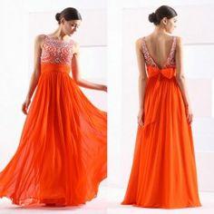 V-Back Beading Handmade Empire Waist Evening Prom Dress