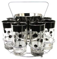 Silvered Polka-Dot Tumblers w/ Carrier | The Vintage Boutique | One Kings Lane