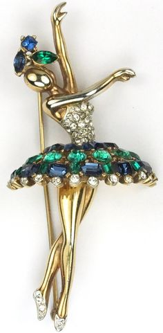 Trifari 'Alfred Philippe' Gold Pave Emerald and Sapphire Ballerina Pin