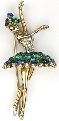 Trifari 'Alfred Philippe' Gold Pave Emerald and Sapphire Ballerina Pin