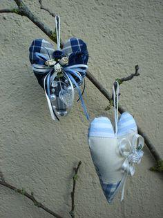 Valentine's day ornament decorative  handmade fabric blue  hearts shabby chic,home decor, gift