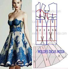 Analise de forma minuciosa a transformação do molde de vestido. Para fazer o molde de vestido imprima o molde base mais próximo do seu tamanho.