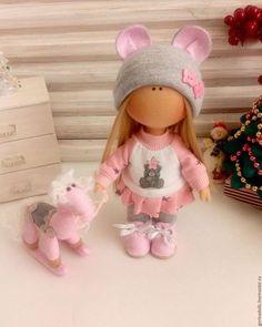 Куклы тыквоголовки ручной работы. Ярмарка Мастеров - ручная работа. Купить Текстильная кукла -малышка.Ася. Handmade. Розовый, лошадка