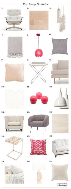 neutral interior with hot pink accent product roundup, interior styling ideas, interior design inspiration, get the look, benjamin moore simply white, mauve, warm white, pale peach, rose quartz, rose beige